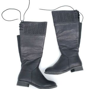 Torrid Perforated Lace Up Back Knee High Boots